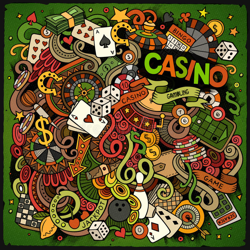 Cartoon hand-drawn doodles casino, gambling illustration. Colorful detailed, with lots of objects vector design background stock illustration