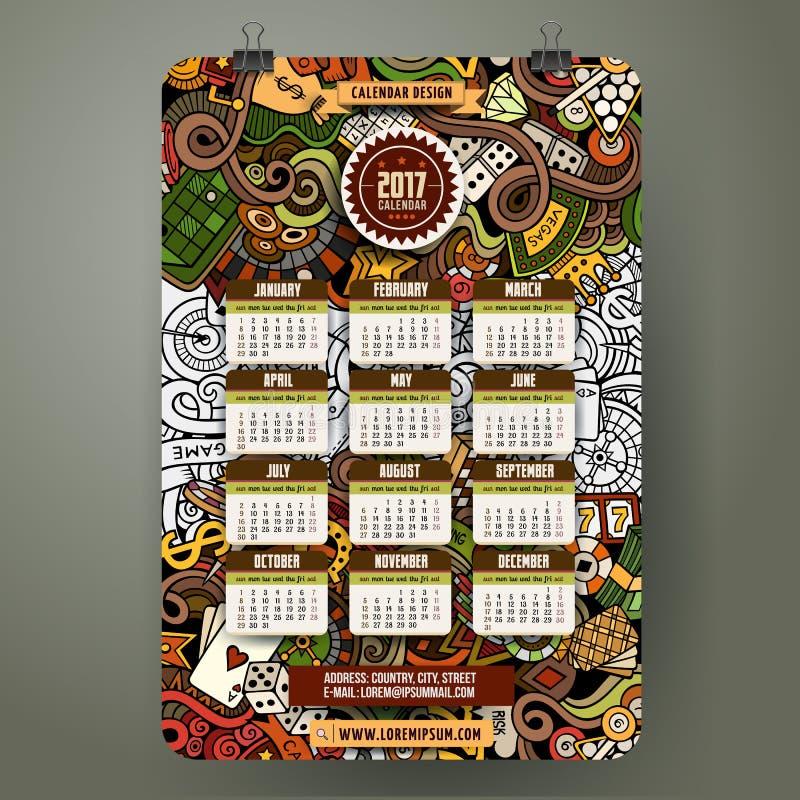 Cartoon hand drawn doodles Casino 2017 year calendar template. Cartoon colorful hand drawn doodles Casino 2017 year calendar template. English, Sunday start royalty free illustration