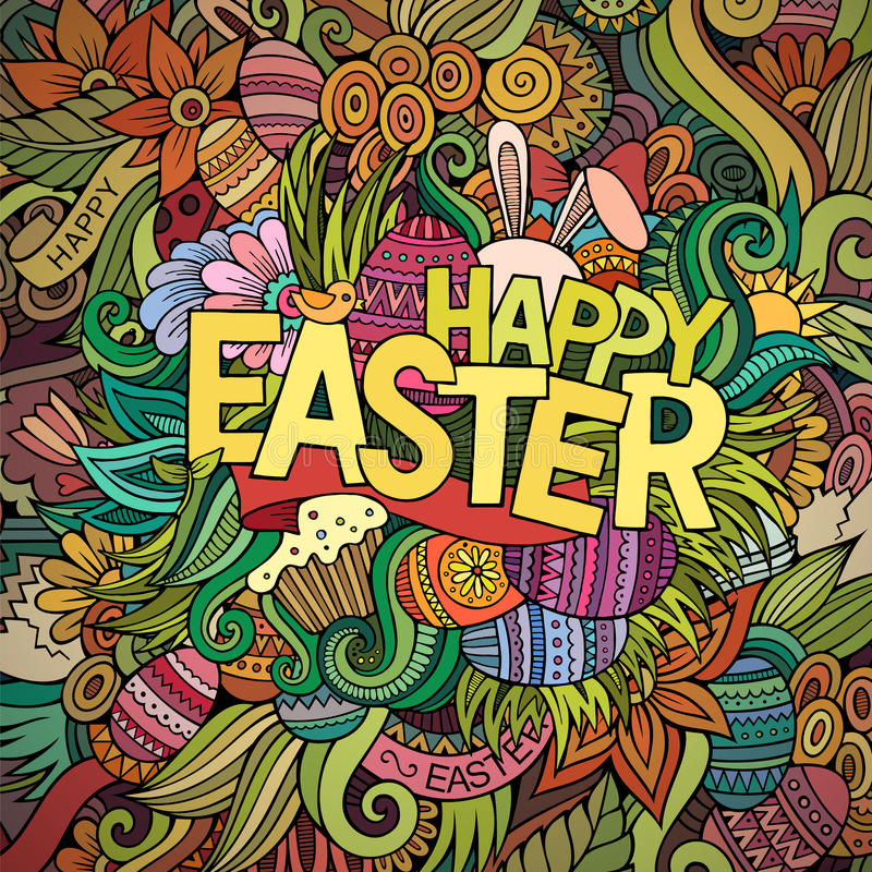 Cartoon hand-drawn doodles Happy Easter background vector illustration