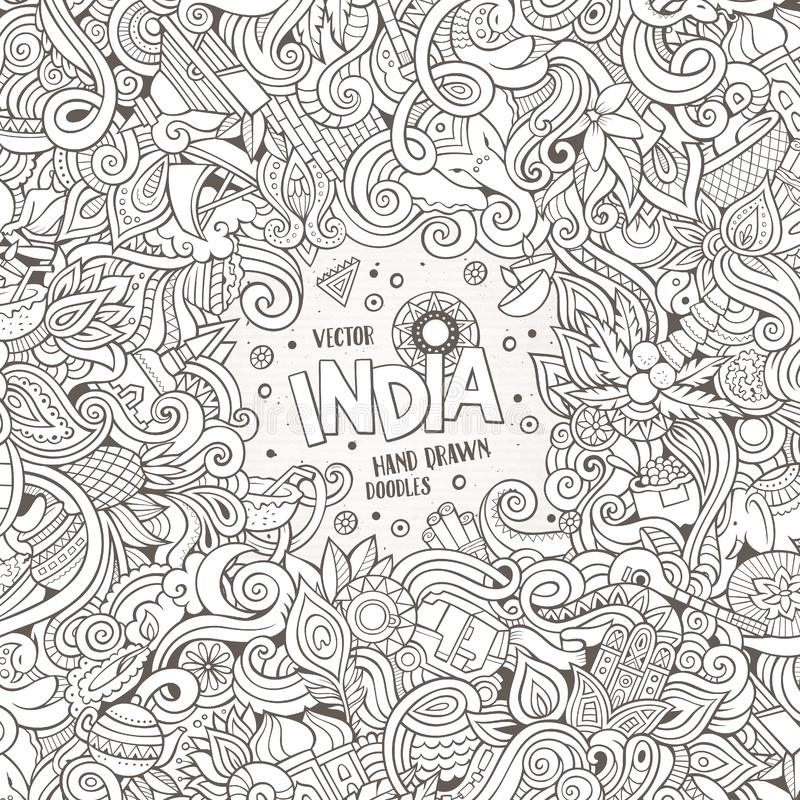 Cartoon hand-drawn doodles India illustration. Line art frame detailed, with lots of objects design background royalty free illustration