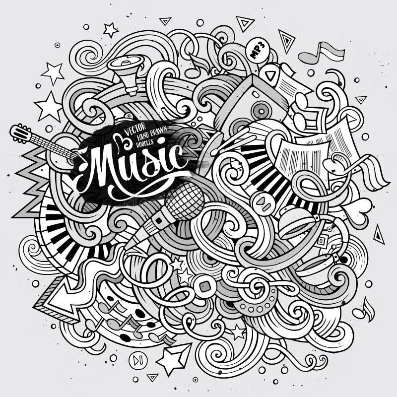 Cartoon hand-drawn doodles Musical illustration vector illustration