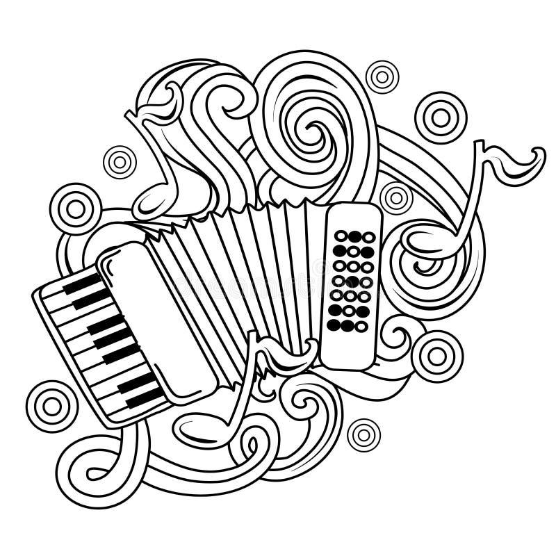 Cartoon hand-drawn doodles Musical illustration. sketch vector illustration