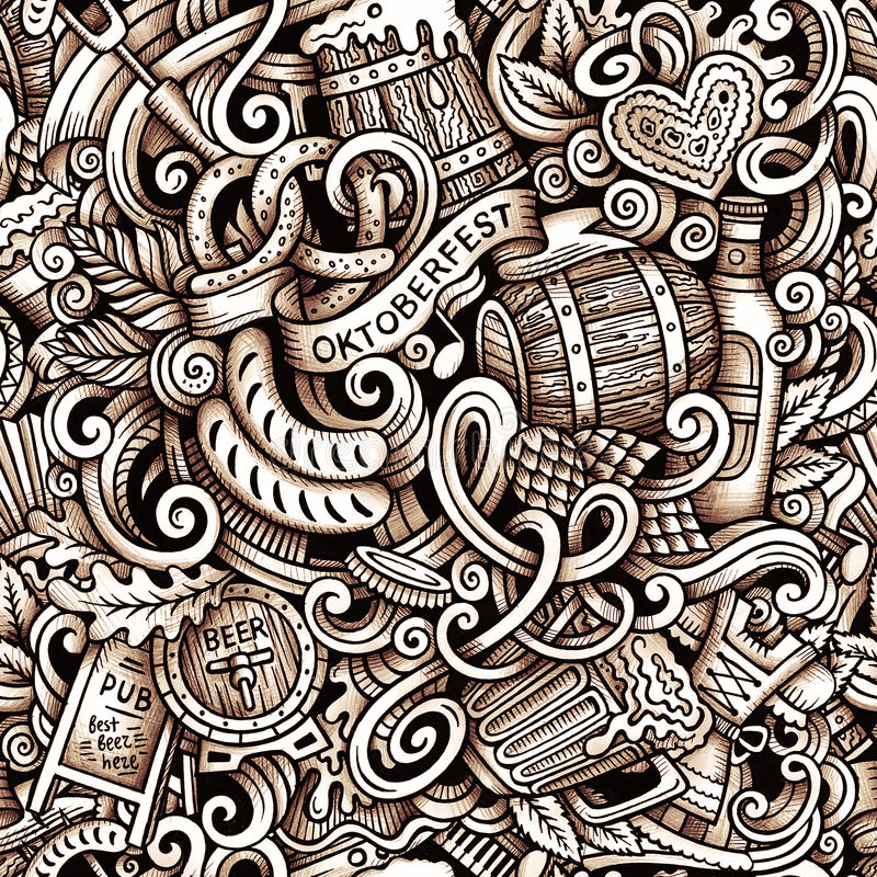 Cartoon hand-drawn doodles Octoberfest seamless pattern. Line art raster detailed, with lots of objects graphics background stock images