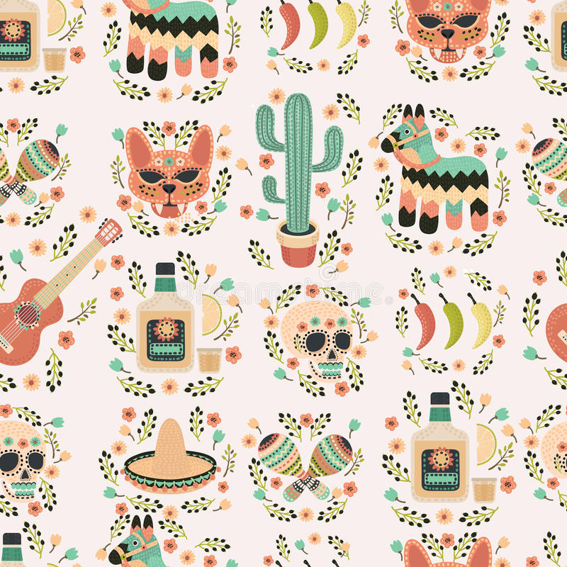 Cartoon hand-drawn latin american, mexican seamless pattern. stock illustration