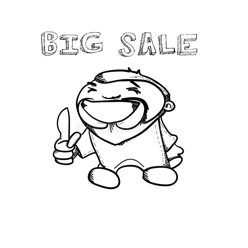 Cartoon hand drawn man and shopping sale banner doodle design. Vector illustration vector illustration