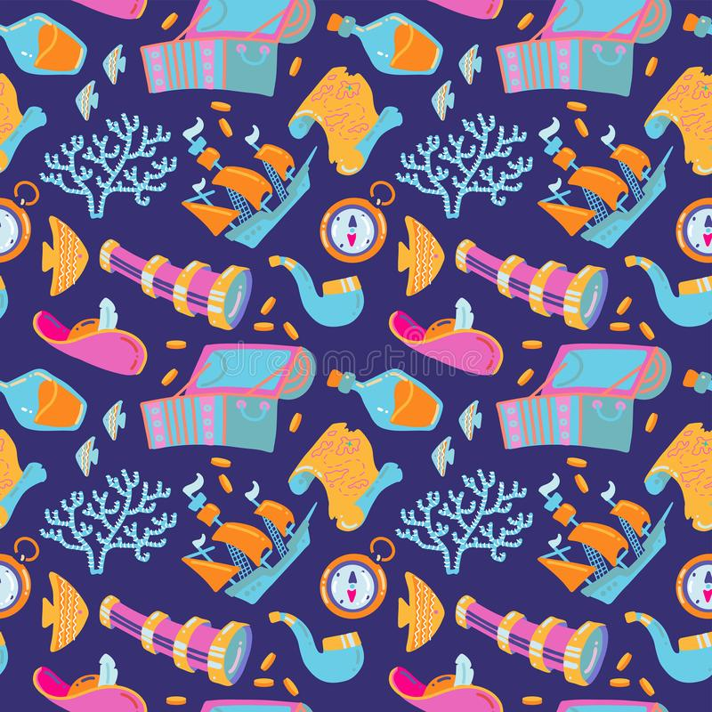 Cartoon hand-drawn nautical marine seamless pattern. Colorful detailed,with lots of objects funny vector background. Treasure royalty free illustration