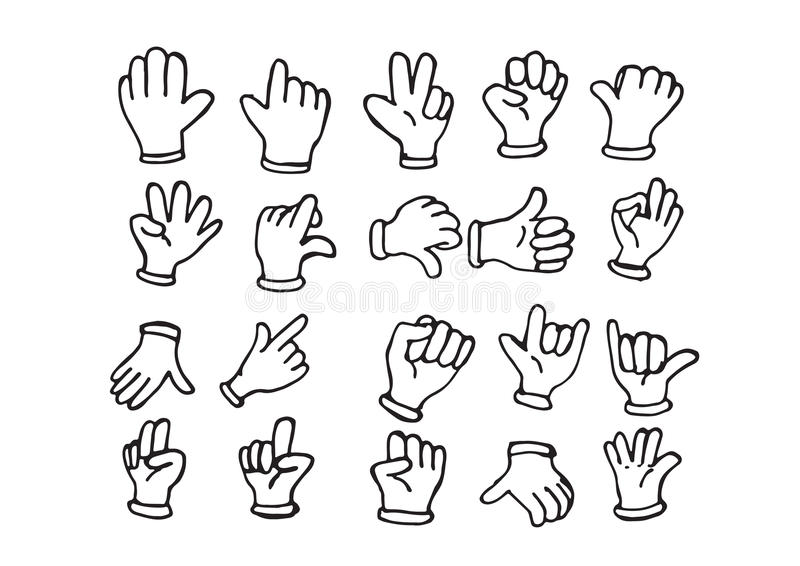 Cartoon hand gloved , illustration of various hands stock illustration
