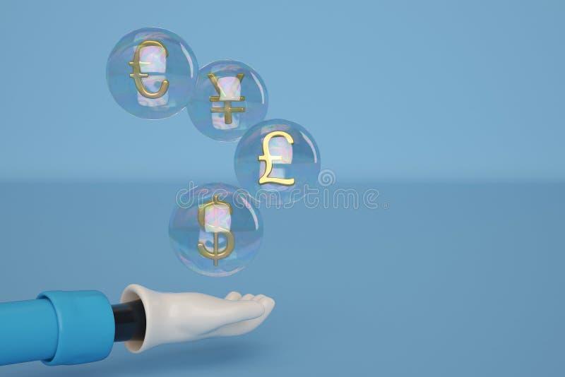 Cartoon hand gold money symbol in bubble. 3D illustration. vector illustration