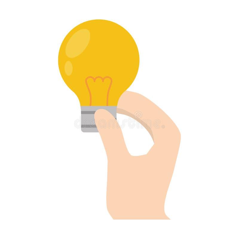 Cartoon hand holding bulb light. Illustration eps 10 vector illustration