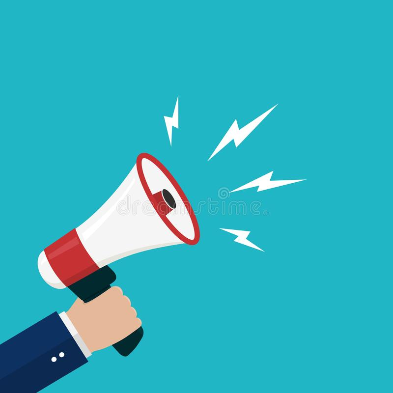 Cartoon hand holding loudspeaker, loud voice horn, megaphone.Flat banner with person shout message.Sound from megaphone for social. Media, promote business vector illustration