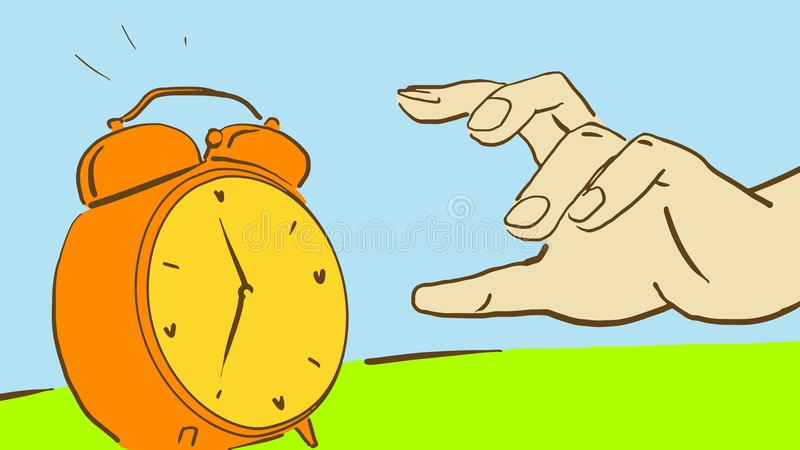 Cartoon Hand Reaches For A Ringing Alarm Clock to turn it off royalty free illustration