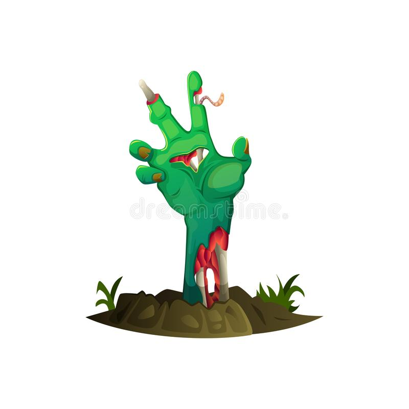 Cartoon hand sticks out of the ground. Human rotting, broken arm. Cartoon hand sticks out of the ground. Human rotting, broken arm royalty free illustration