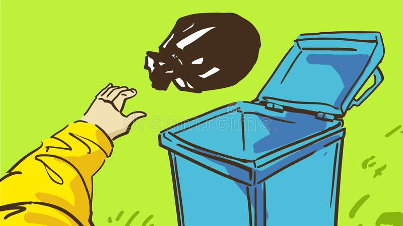 Cartoon Hand Throws Garbage In Blue Empty Trash Can On The Grass vector illustration