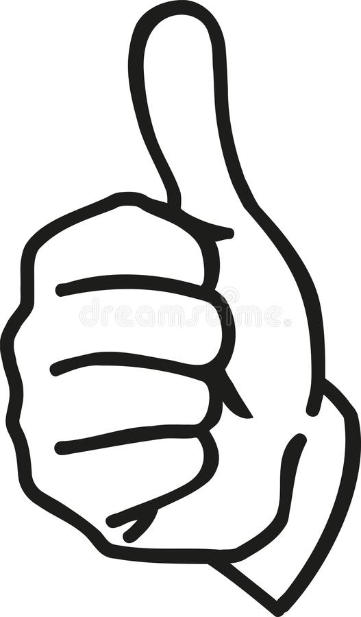 Cartoon hand with thumbs up royalty free illustration