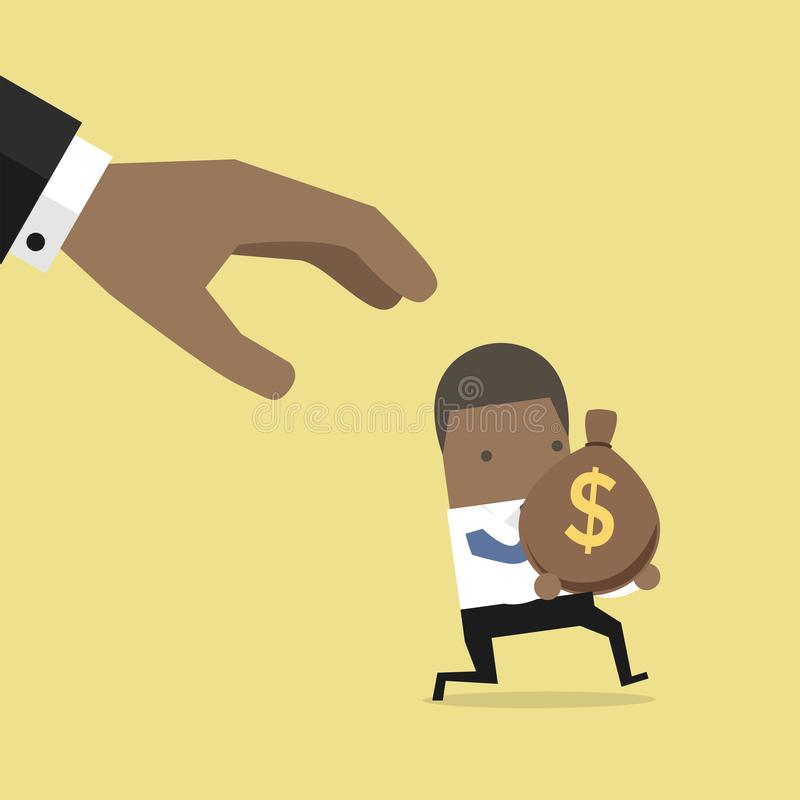 Cartoon hand tries to grab the bag of money running African businessman. vector illustration