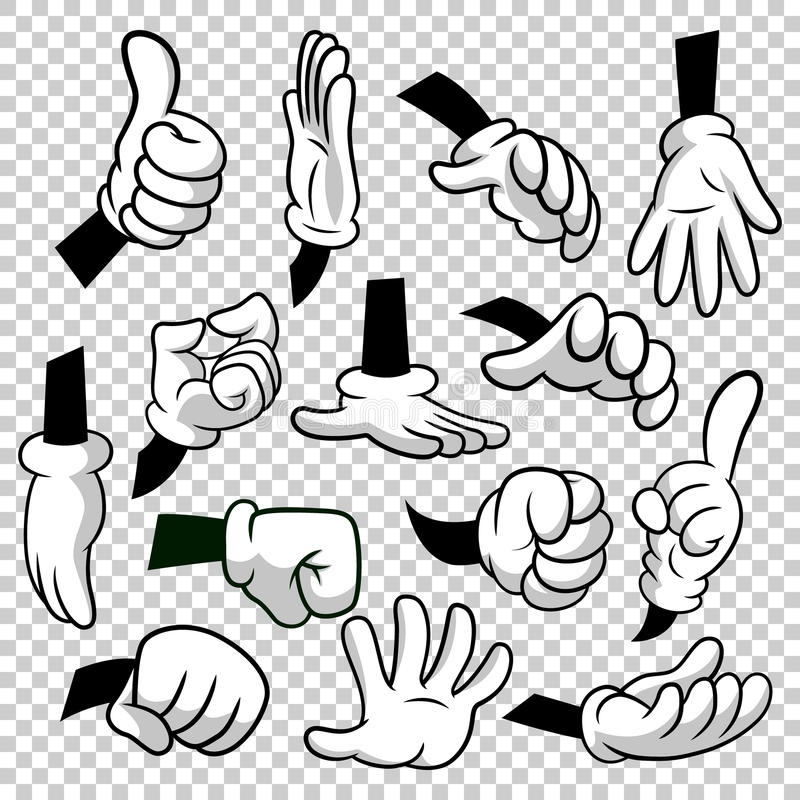 Cartoon hands with gloves icon set isolated on transparent background. Vector clipart - parts of body, arms in white. Gloves. Hand gesture collection. Design vector illustration