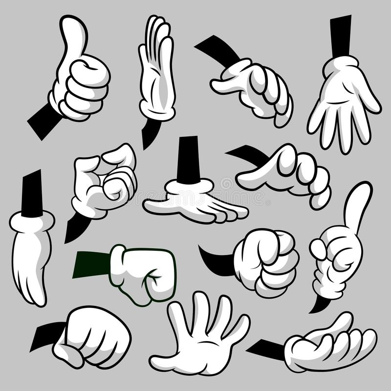 Cartoon hands with gloves icon set isolated. Vector clipart - parts of body, arms in white gloves. Hand gesture. Collection. Design templates for graphics stock illustration