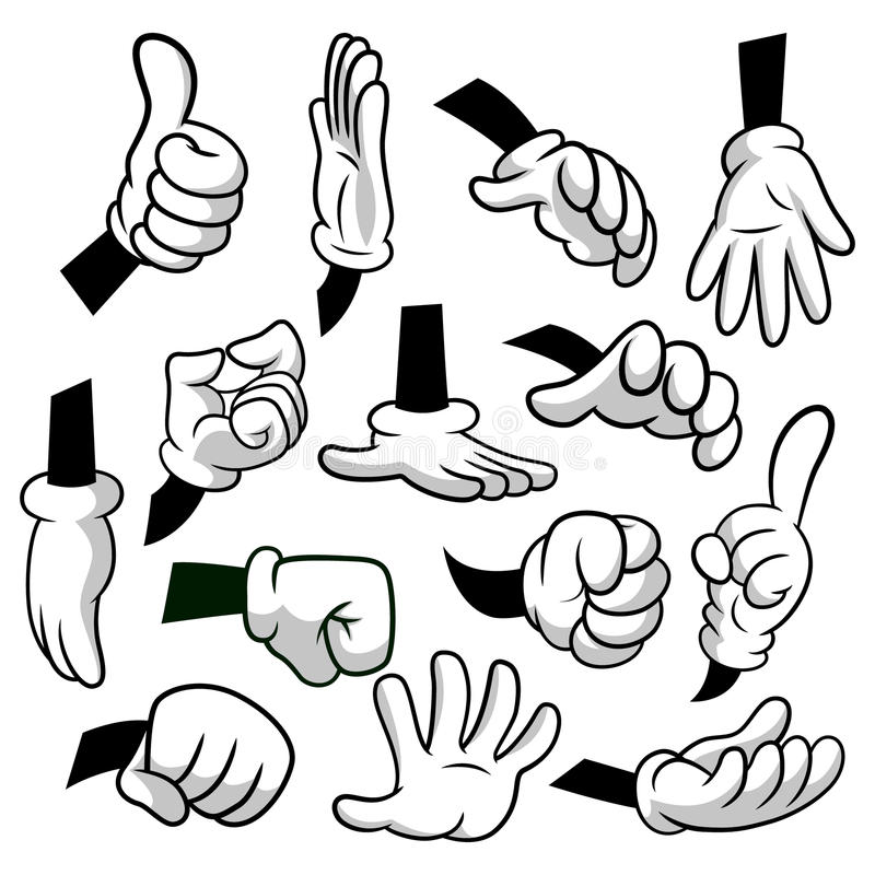 Cartoon hands with gloves icon set isolated on white background. Vector clipart - parts of body, arms in white gloves. Hand gesture collection. Design royalty free illustration