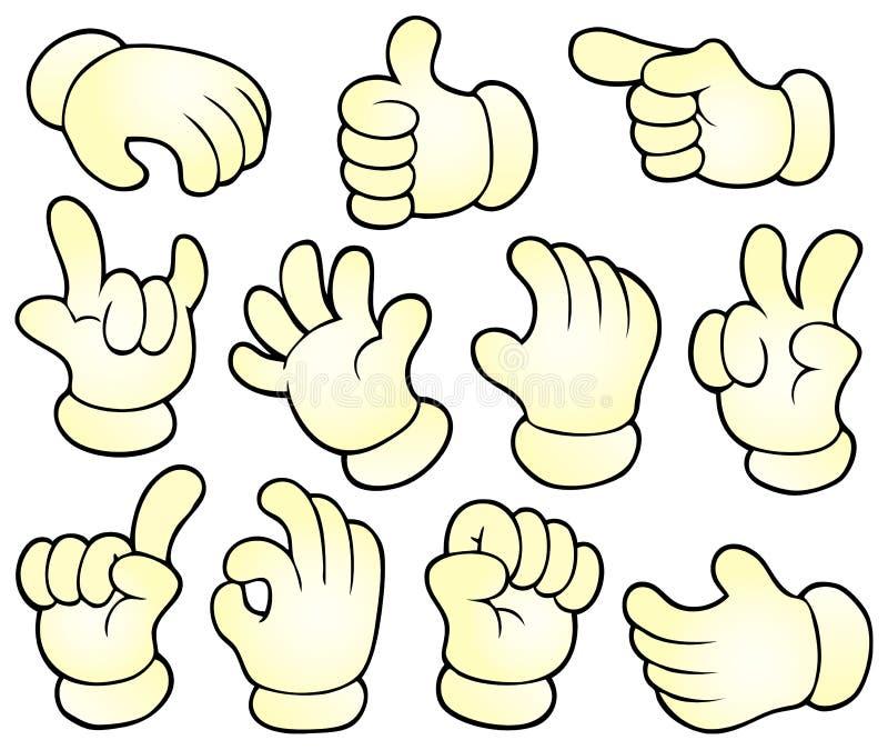 Cartoon hands theme collection 1 vector illustration