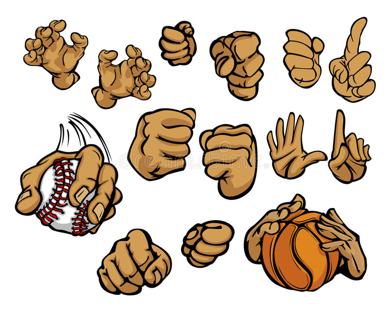 Cartoon Hands In A Variety Of Gestures Stock Images