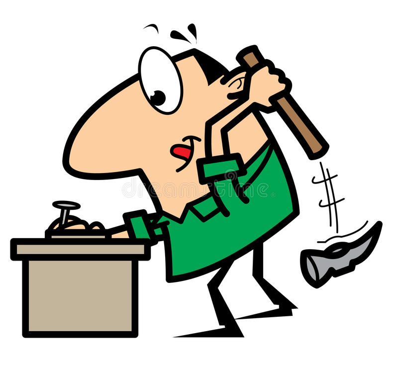 Cartoon handyman with hammer and nail stock illustration