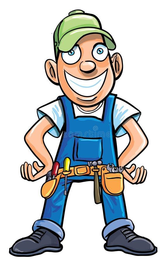 Cartoon handyman with tools. stock illustration