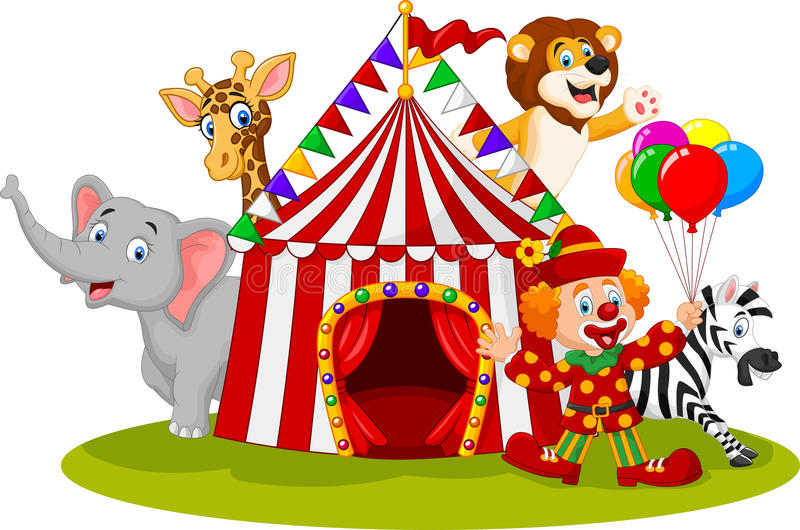 Cartoon happy animal circus and clown royalty free illustration