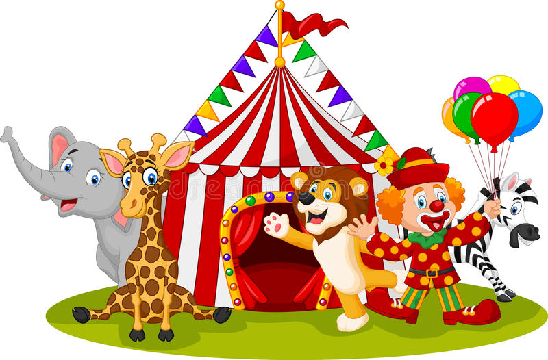 Cartoon happy animal circus and clown stock illustration