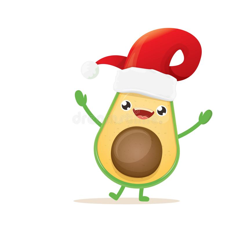 Cartoon happy avocado character with red santa claus hat isolated on white background. vector christmas fruit funky royalty free illustration