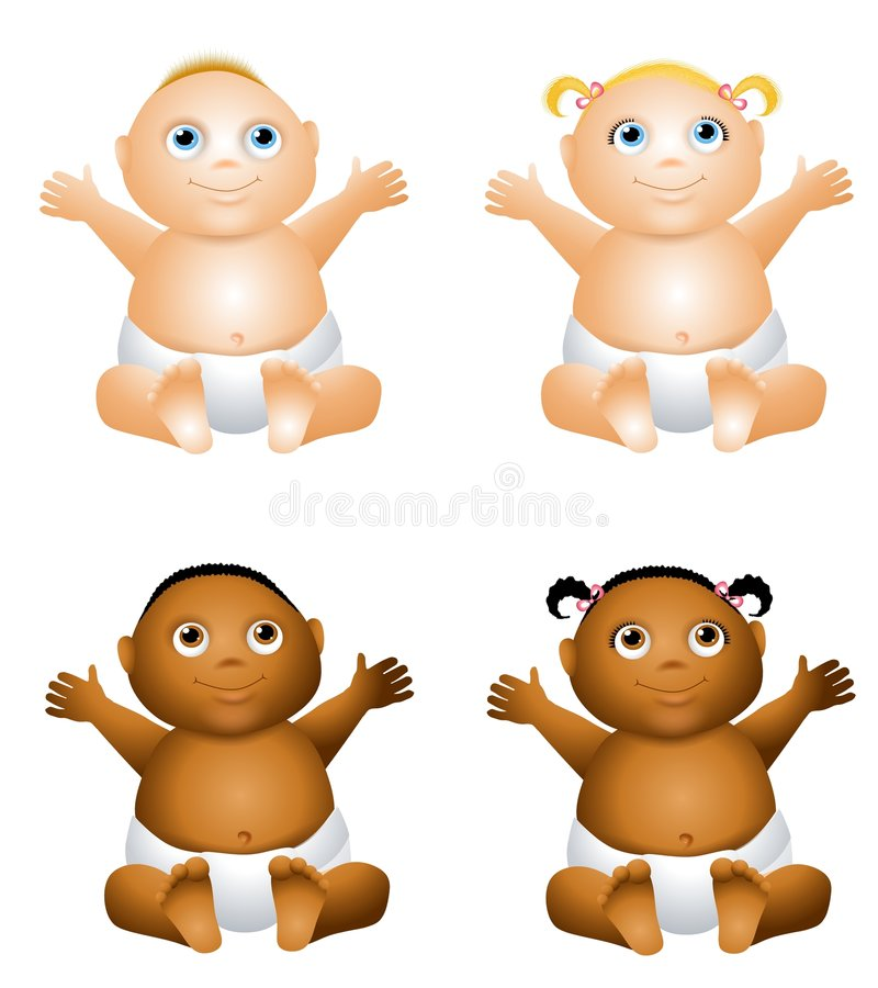 Cartoon Happy Baby. An illustration featuring your choice of happy smiling baby - african american and caucasian - boys and girls stock illustration