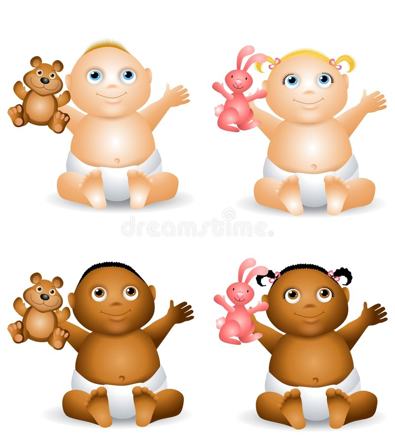 Cartoon Happy Baby Toys. An illustration featuring your choice of happy smiling baby - african american and caucasian - boys and girls holding teddy bears and royalty free illustration