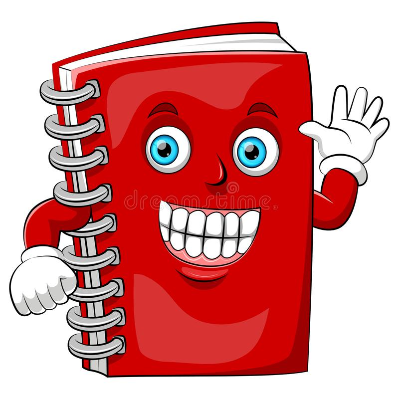 A cartoon happy book with big smile vector illustration