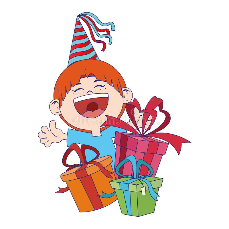 Cartoon happy boy with birthday gifts boxes stock illustration