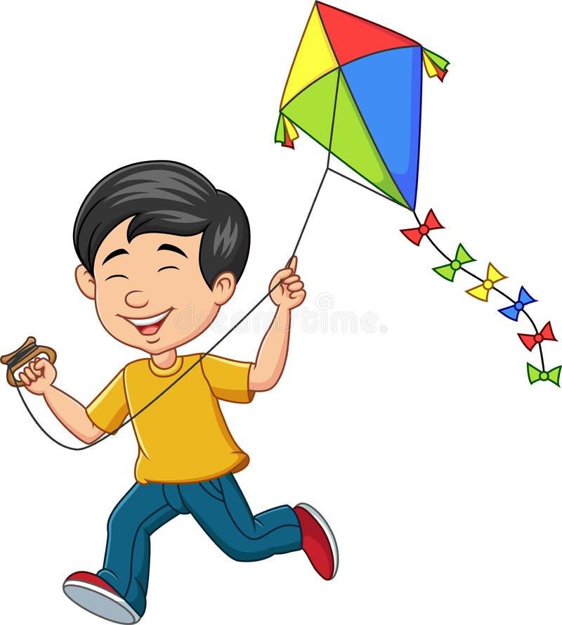 Free Cartoon Happy Boy Playing Kite Royalty Free Stock Photography - 165278867
