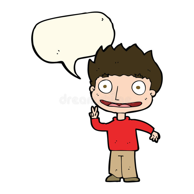 Cartoon happy boy with speech bubble stock illustration