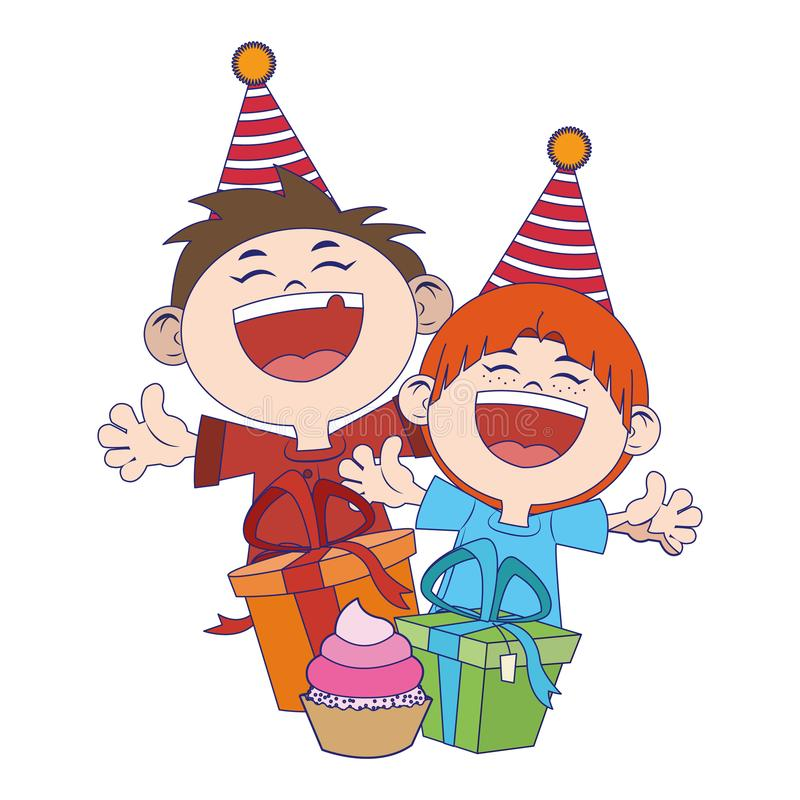 Cartoon happy boys with birthday gifts boxes icon vector illustration