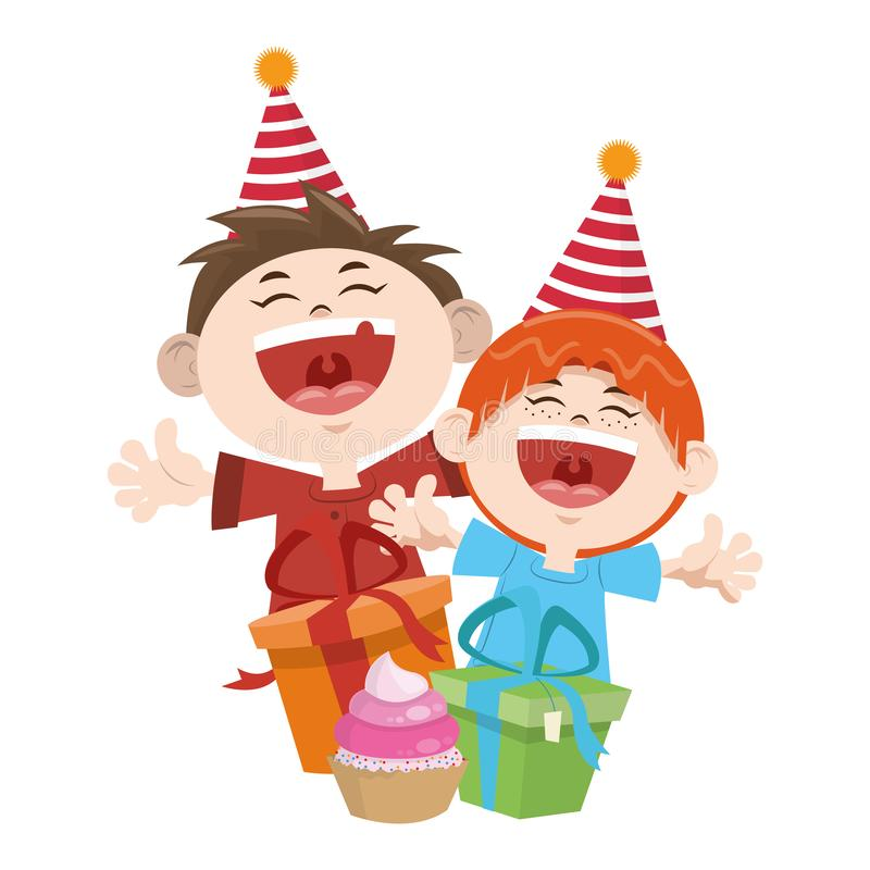 Cartoon happy boys with birthday gifts boxes icon, colorful design stock illustration