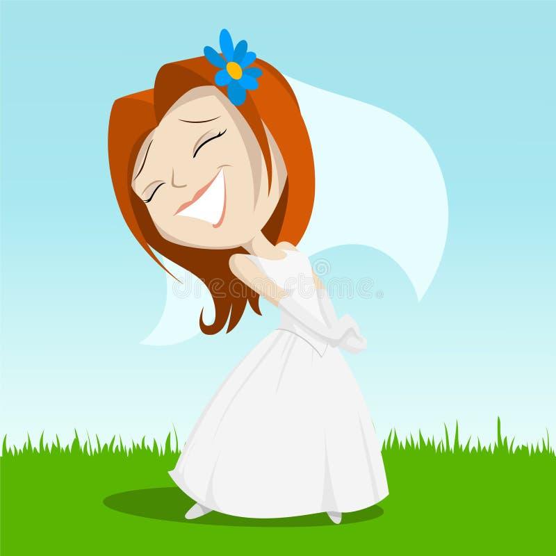 Download Cartoon Happy Bride On Green Grass Stock Vector - Image: 19185556