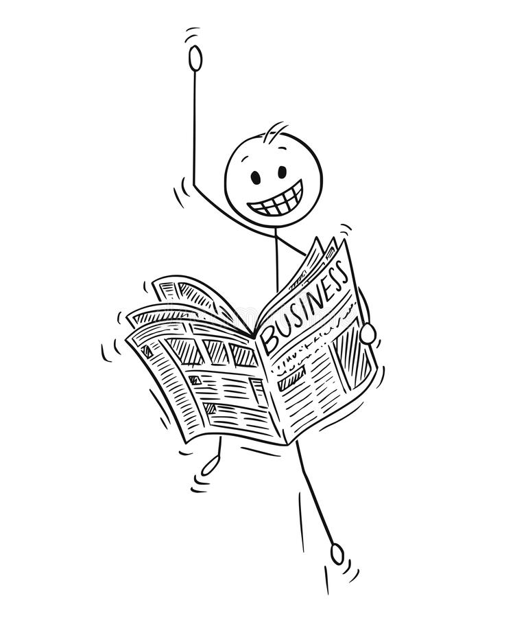 Cartoon of Happy Businessman Reading Good Business News in Newspaper. Cartoon stick man drawing conceptual illustration of happy celebrating businessman reading vector illustration