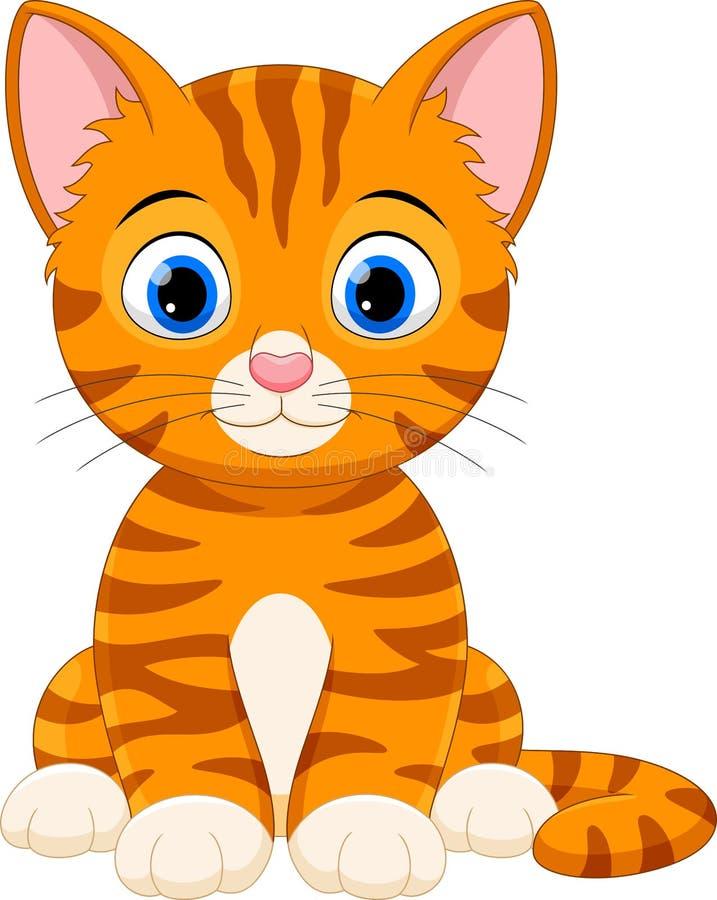 Cartoon happy cat sitting royalty free illustration