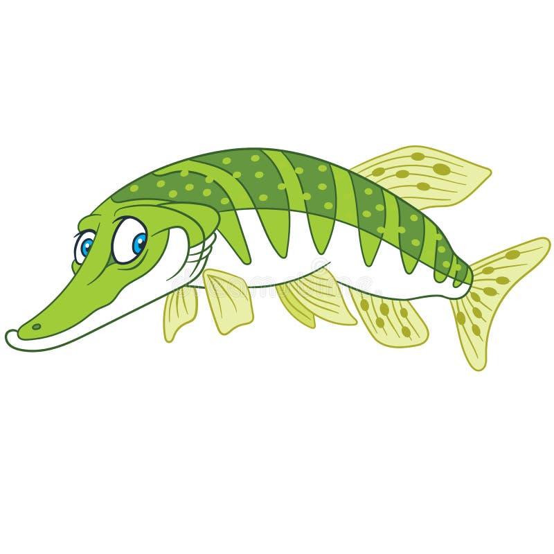 Cartoon pike river fish design. Cartoon happy childish pike fish. river underwater animal print stock illustration