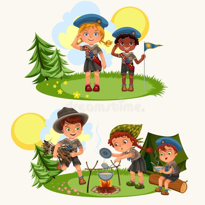 Cartoon happy children having fun together in forest stock illustration