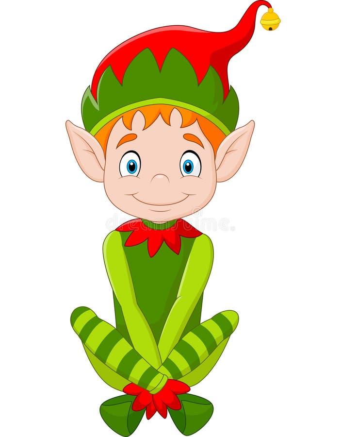 Cartoon happy Christmas elf sitting vector illustration