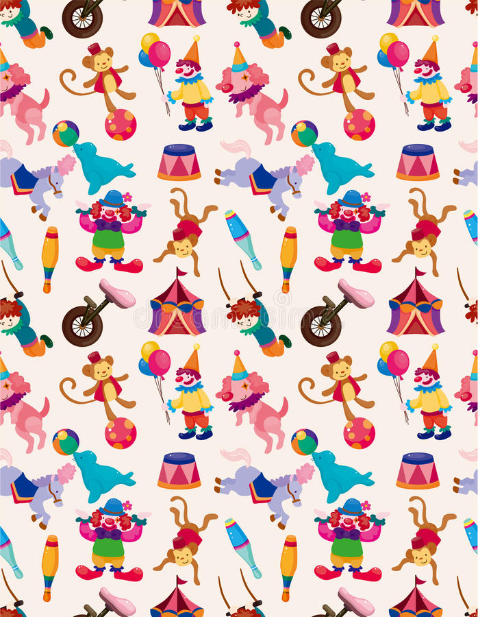Cartoon happy circus seamless pattern stock illustration
