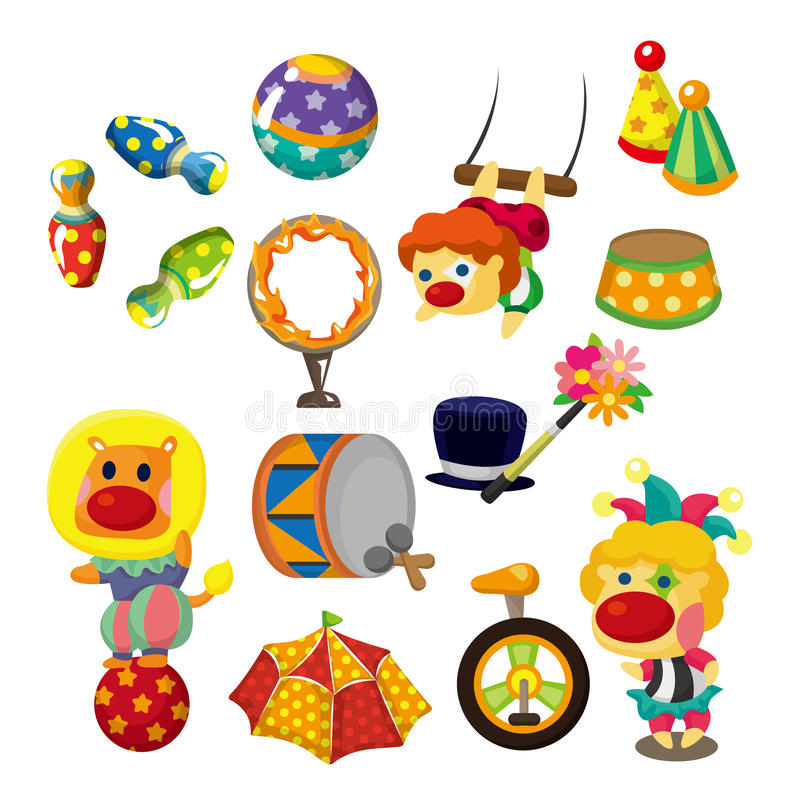 Cartoon Happy Circus Show Icons Collection Royalty Free Stock Photos