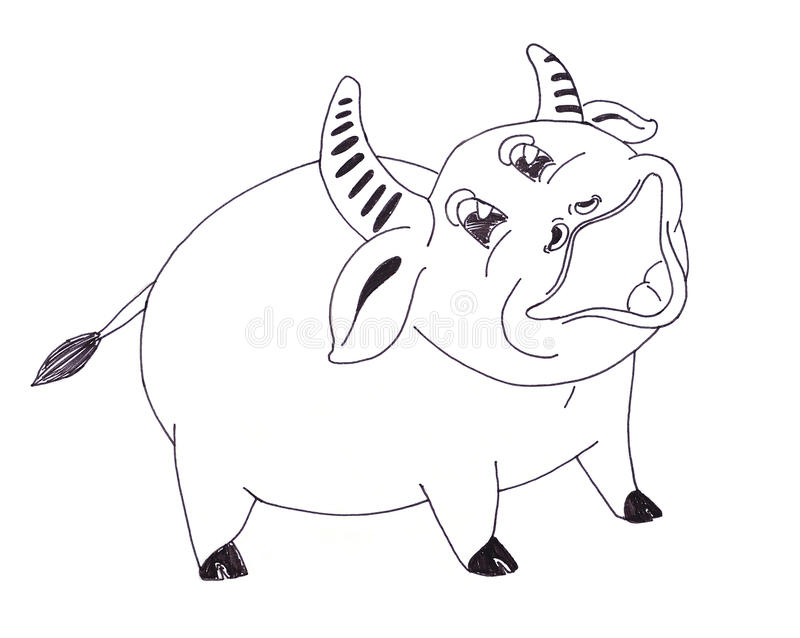 Download Cartoon of a happy cow stock illustration. Image of drawing - 24230356