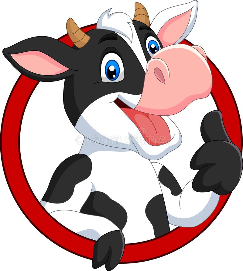 Free Cartoon Happy Cow Giving Thumb Up Royalty Free Stock Images - 153854479