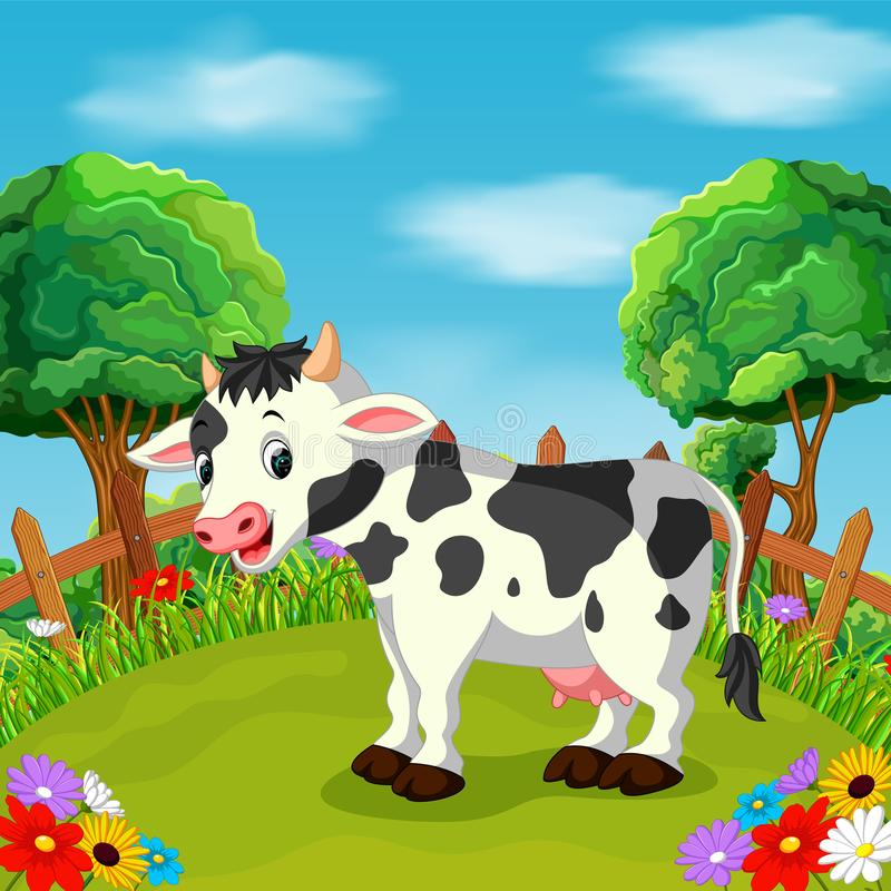 Free Cartoon Happy Cow Smile In The Farm Royalty Free Stock Images - 104759059