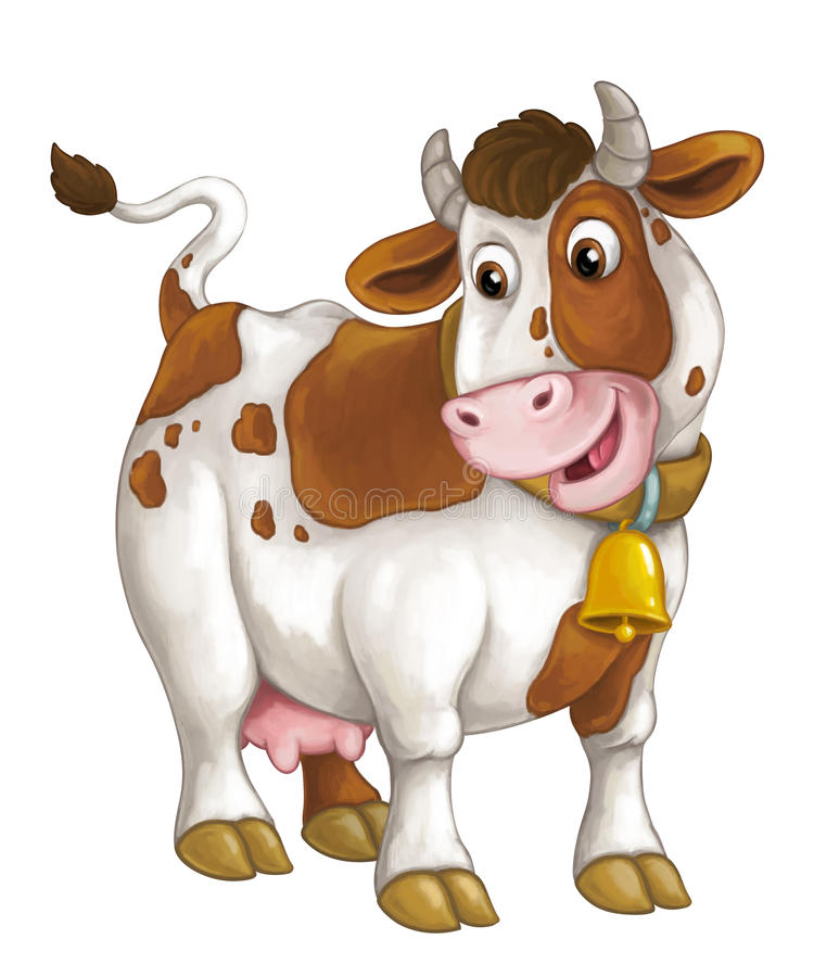 Cartoon happy cow is standing and looking down - artistic style - isolated - illustration for children. Happy and funny traditional scene for different usage royalty free illustration