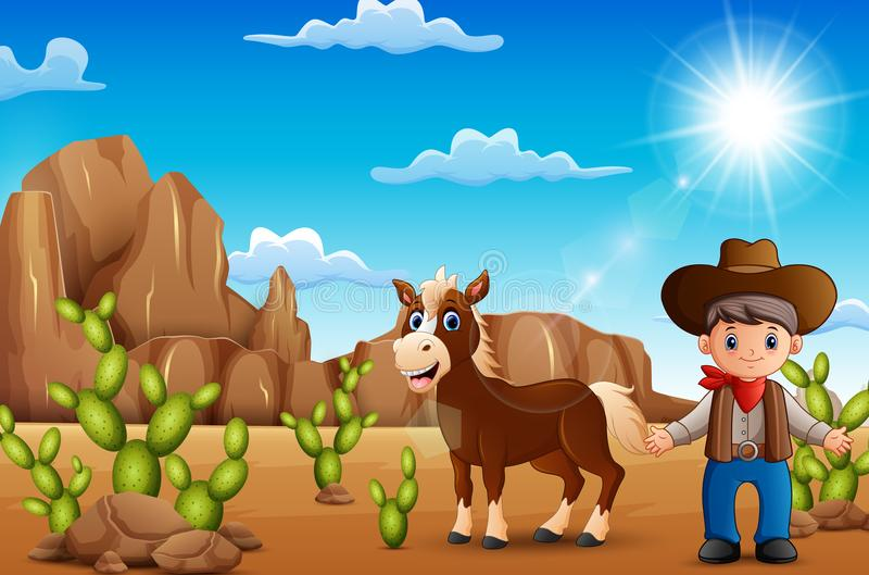 Cartoon happy cowboy with horse in the desert royalty free illustration